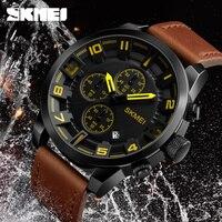 New 2018 SKMEI Luxury Brand Fashion Business Quartz Watch Men Sport Watches Waterproof Leather Men Wrist