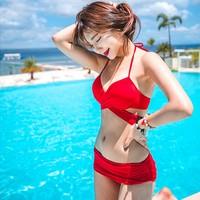 Korean Red Sexy Bikini Swimwear Push Up Bandage Bikinis Set Halter Swimsuit Wrinkle Triangl Biquini Maillot