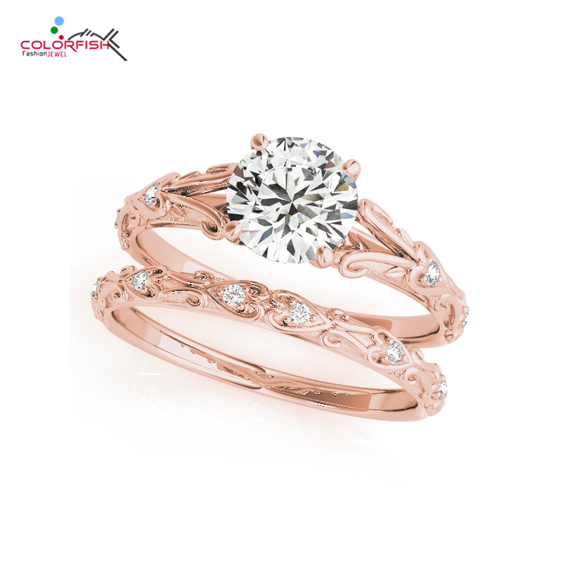 COLORFISH Antique Prong Set 3/4 CT Solitaire Engagement Ring Set Real 925 Sterling Silver Rose Gold Filled Rings Sets For Women недорого