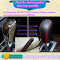 Leather Black Gear Sets Shift collars Knob handbrake For Hyunda1 I30/IX25/IX35 elantra Mistra santafe verna Sonata Accent MOINCA