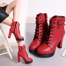 2019 new women's bare boots high heel thick with velvet boots fashion belt buckle waterproof platform round head Martin boots недорого