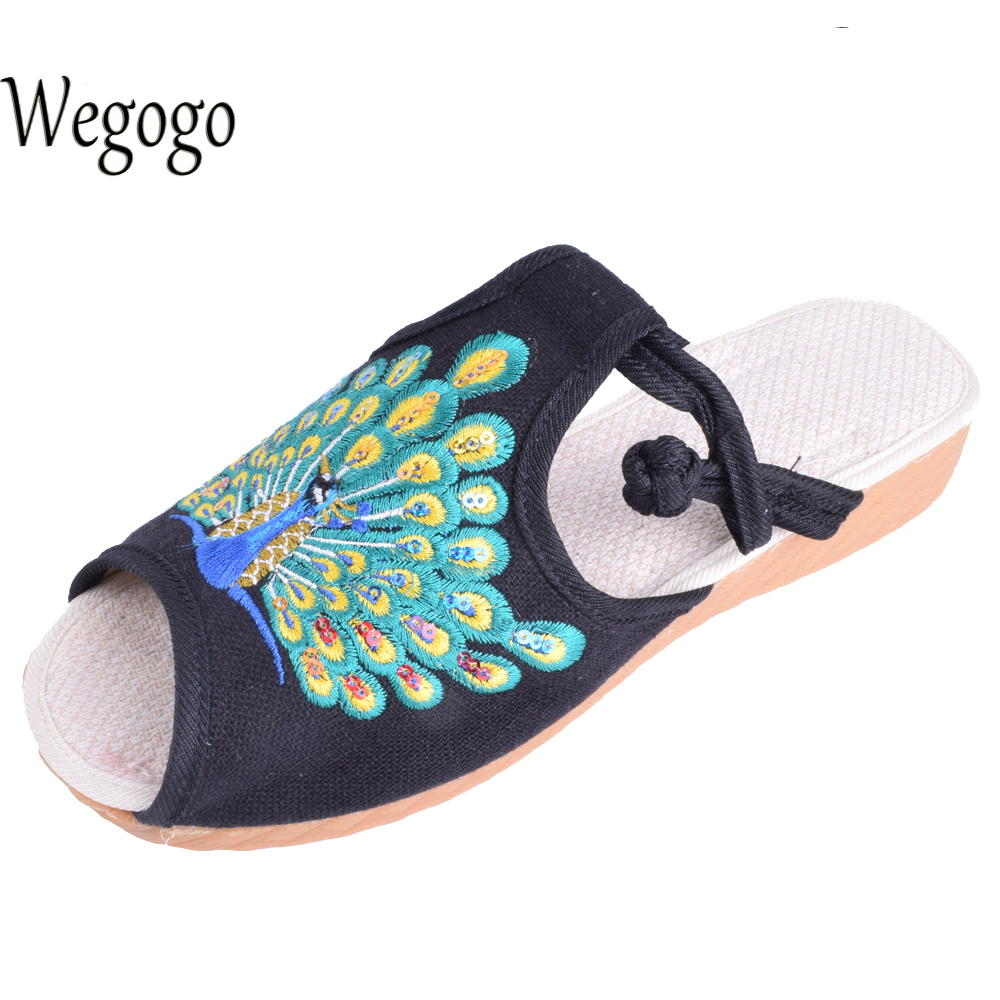 Wegogo Women Shoes Flats Peacock Cotton Slippers Sandals Chinese Casual Slide Flat Shoes Slip on Peep Toe Sandials lanshulan bling glitters slippers 2017 summer flip flops platform shoes woman creepers slip on flats casual wedges gold