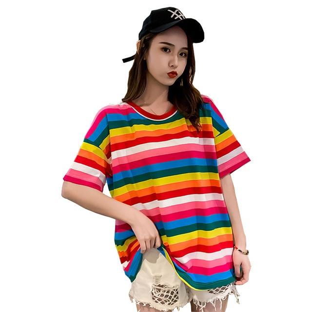 2019 Female Rainbow Striped T shirt Plus Size Best Friend T shirt Sweet T shirt