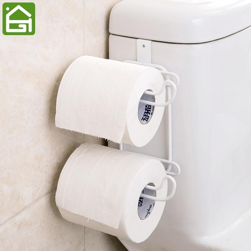 2 Layers Bathroom Hanging Organizer Toilet Roll Paper Holder Kitchen Cupboard Door Towel Tissue