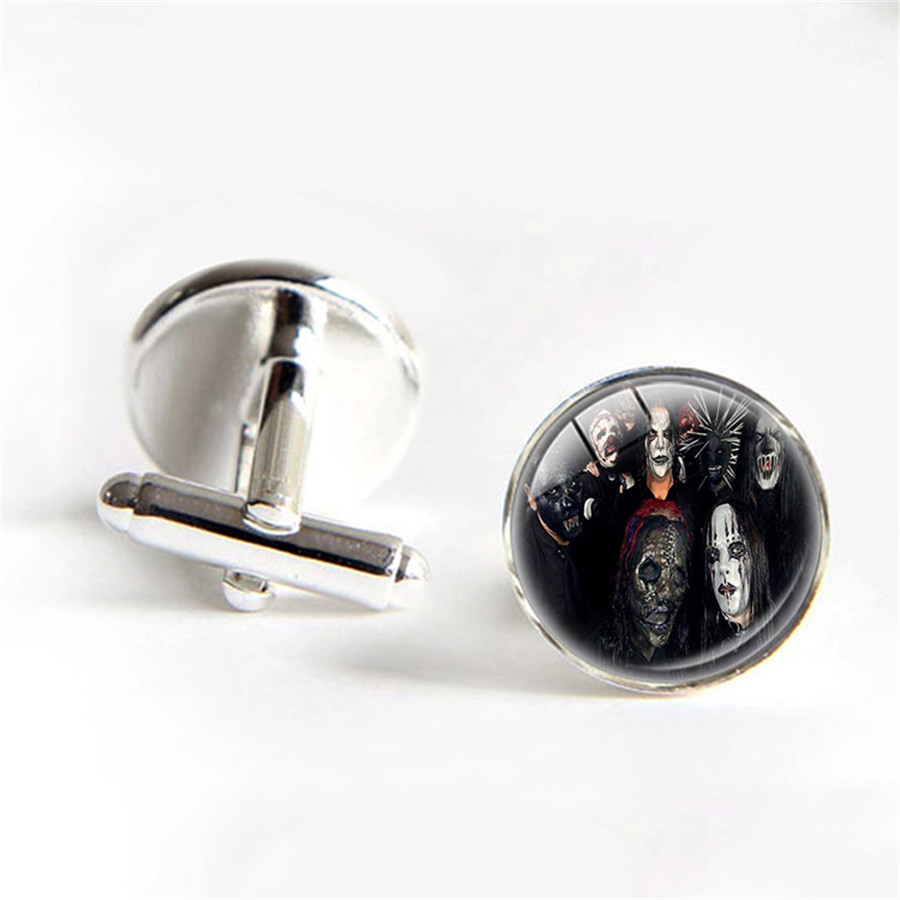 Slipknot Skull & Tribal Gray Chapter Cufflinks for Sale Slipknot Silver Plated Cuff Men Cuff Button Father Day Present