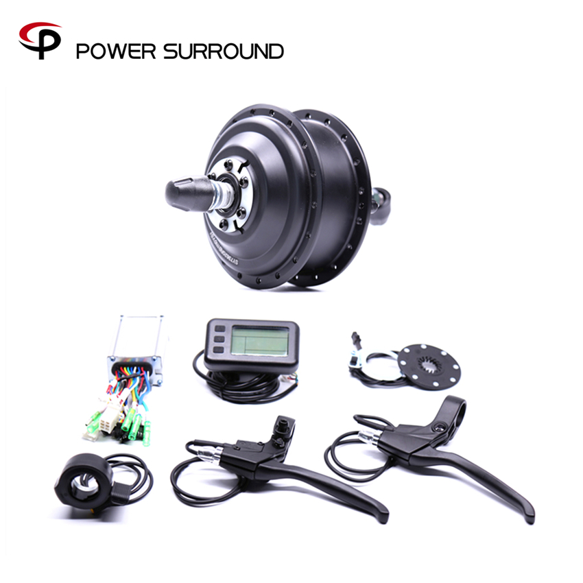 Bicicleta Eletrica Real Hot Sale Electric 36v350w Front/rear Bike Conversion Kit Brushless Hub Motors With Ebike System 4inches bldc hub motor with tyre hall sensor and eabs function enable for electric scooter ebike motorycle front or rear driven