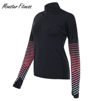 Monster Women S Tight Compression Running Yoga Shirts Top Elasticity GYM Sports T Shirt Long Sleeve