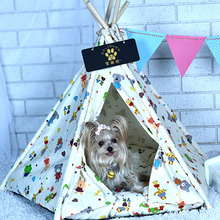 New style pet supplies mongolian house foldable dog tent wooden outdoor washable bed