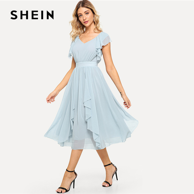b4f8408ea0a SHEIN Solid Blue Pastel Elegant V Neck Ruffle Dress Zipper Sleeveless Flared  Dresses Women Summer Beach