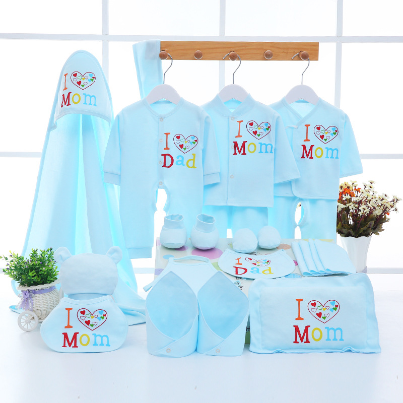 Emotion Moms Newborn Baby 0-3M Clothing Set Baby Boy Girl Pants Shirt Bibs Hat Clothes 100% Cotton Baby Set Underwear 22Pcs/Set fashion baby girl t shirt set cotton heart print shirt hole denim cropped trousers casual polka dot children clothing set