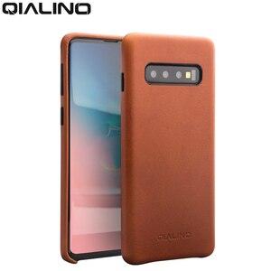 Image 2 - QIALINO moda prawdziwy skórzany tył pokrywa dla Samsung Galaxy S10 6.1 cali luksusowe ręcznie etui na telefony dla S10 Plus 6.4 cali