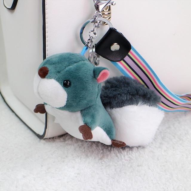 Moda Esquilo de Pelúcia Bonecas Mulher Saco do Anel Chave de Cadeia Encantos Festa Toy Car Chaveiro Trinket chaveiro Faux Pele De Coelho Pompom presentes