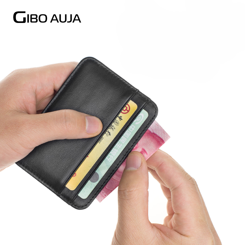 100% Sheepskin шынайы Leather Card Holder Super Slim Soft Credit Card Әмиян Әмиян Әмиян Әмиян - Gibo Auja