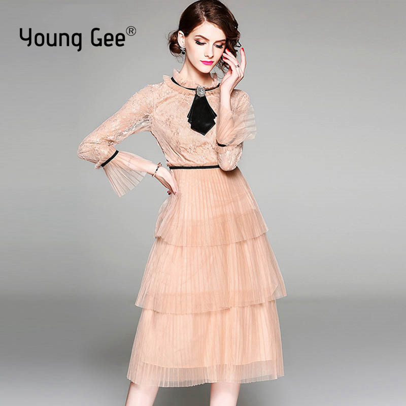 Clearance Spring Summer 2019 Princess Sweet Dress Lace Sheer Mesh Sleeve Elegant Women Floral Knee Length Party Dresses Vestidos