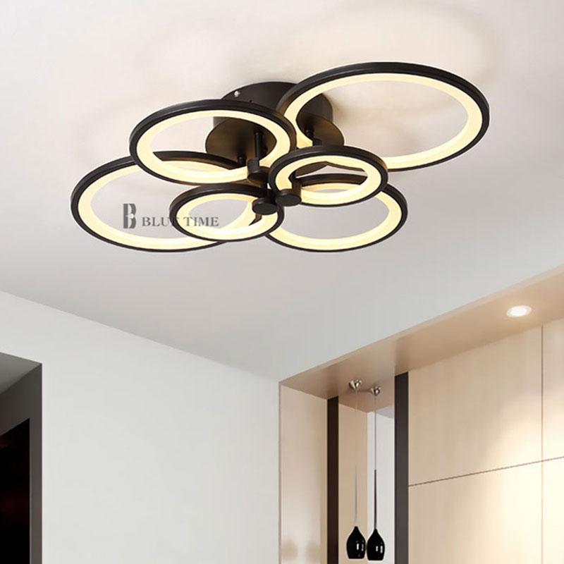 Blanco y negro moderno LED araña para sala de estar dormitorio - Iluminación interior - foto 3