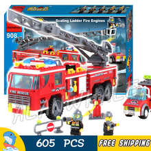 605pcs City Scaling Ladder Fire Engines Rescue Truck 3D Firefighter 908 Model Building Blocks Children Toys Compatible with lego