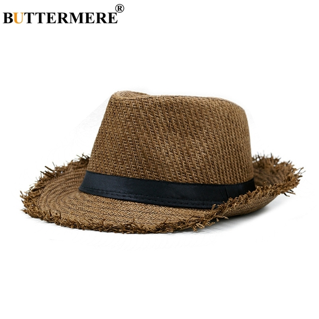 BUTTERMERE Brown Straw Beach Hat Men Women Summer Panama Cap Casual Fedora  Hat Male Fashion Straw Hat UV Protection db3be2cf463