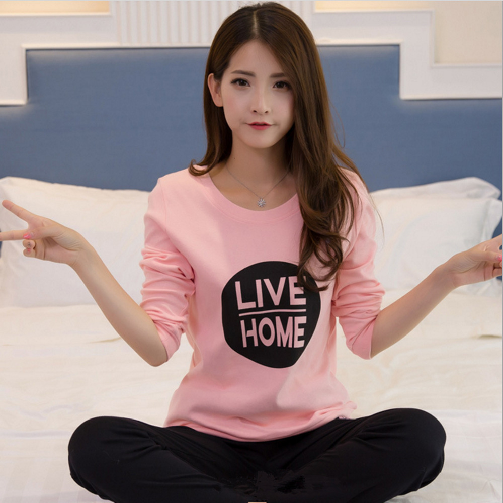 Spring Summer Women Pyjamas Thin Cotton Long Sleeve Pajamas Set Student Tracksuit Tops Female Pyjamas Sets Night Suit Sleepwear