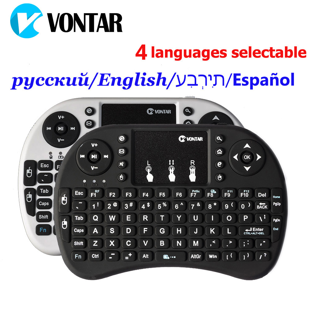 Original Normal y retroiluminado i8 Mini teclado inalámbrico Air Mouse con inglés ruso español hebreo para Android TV BOX PC portátil