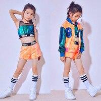 Children's Jazz Costume Girls' Modern Dancewear Hip hop Sequins Set Orange Street Dance Costumes Stage Performance Wear