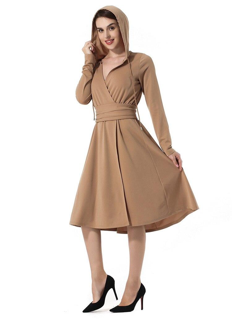 Gi. amagi haute qualité Hoodies robe femmes hiver noël élégant à manches longues a-ligne solide femmes robe en gros gothique Punk