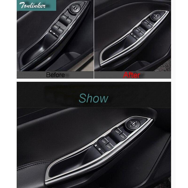 Tonlinker 4 UNIDS Car styling ABS Cromado Botón de Elevación de la - Accesorios de interior de coche