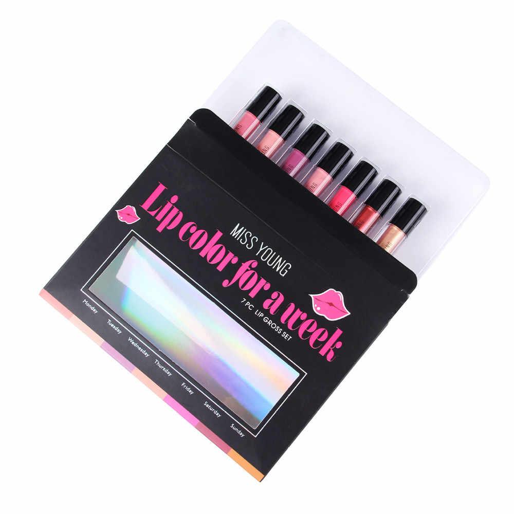 7 pièces/ensemble maquillage imperméable mat rouge à lèvres Sexy longue durée brillant à lèvres cosmétiques lèvres 2019 nouveaux rouges à lèvres pour les femmes maquiagem