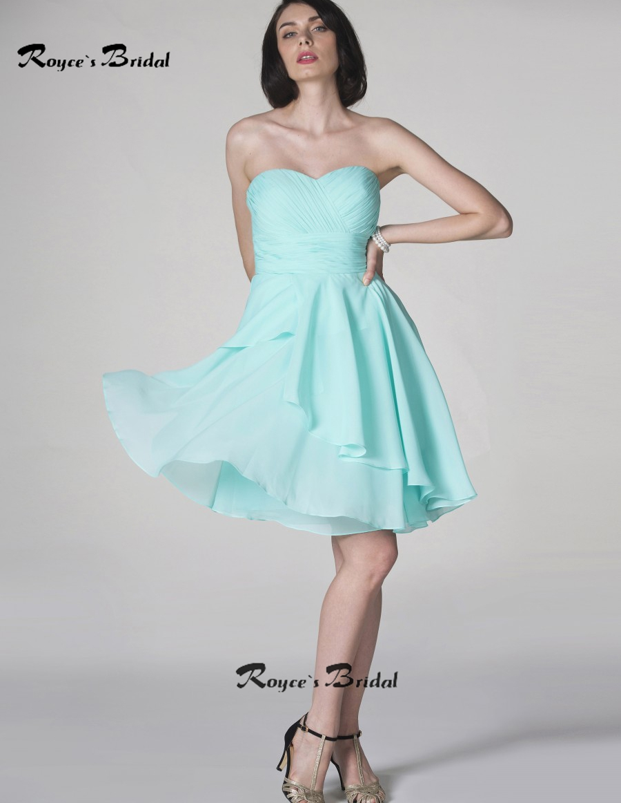 Simple Style Strapless Light Blue Bridesmaid Dresses Short Chiffon ...