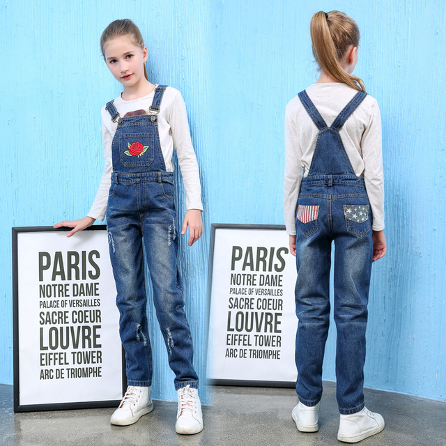 214605ee555f Baby girl overalls 2018 Fashion Embroidery rose Kids girl jeans jumpsuit  denim overalls kids 5-16 years baby girls clothes