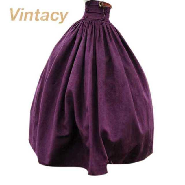 Vintacy vintage стиль фиолетовый женщины юбки бальное платье мода длинные женщины юбка свободные причинно длина пола плиссированные кнопку