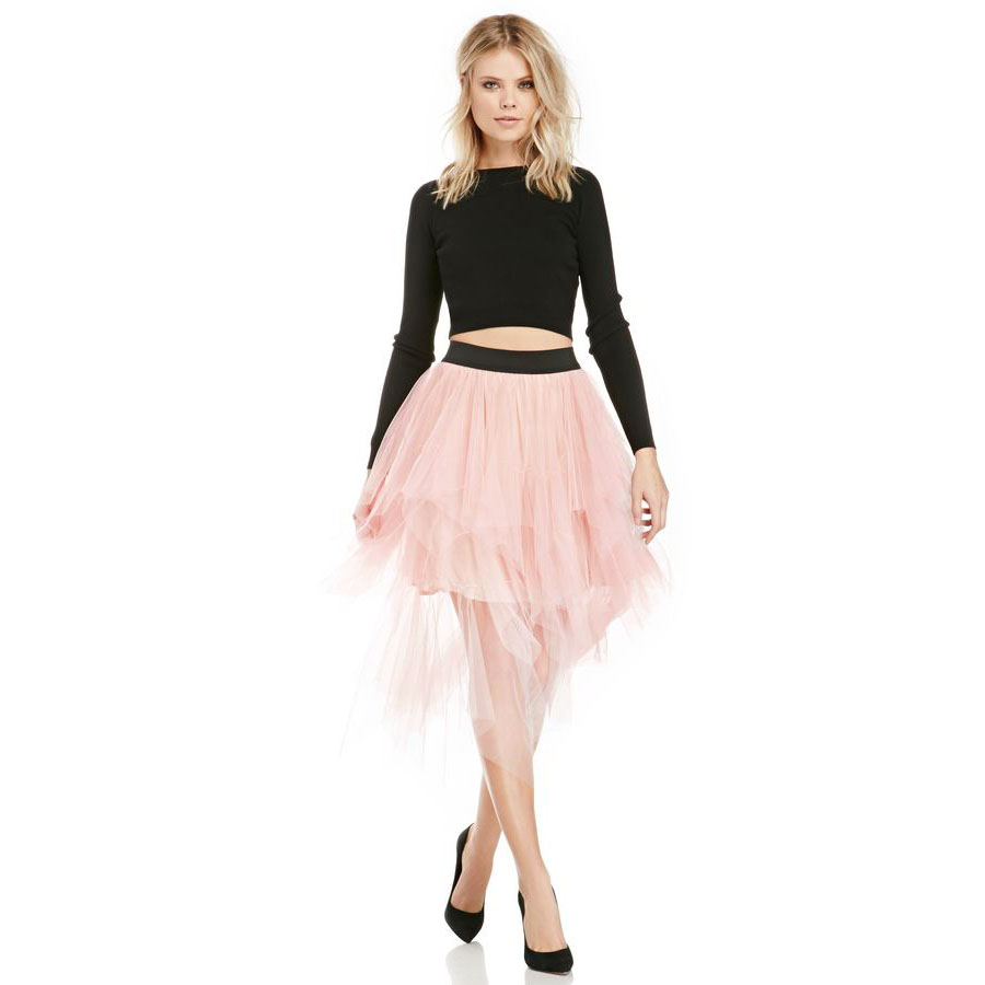 New Style Pink Tulle Skirt With Black Waistline Asymmetrical Mid Length Custom Made Midi Skirt Tiered Layered Skirts
