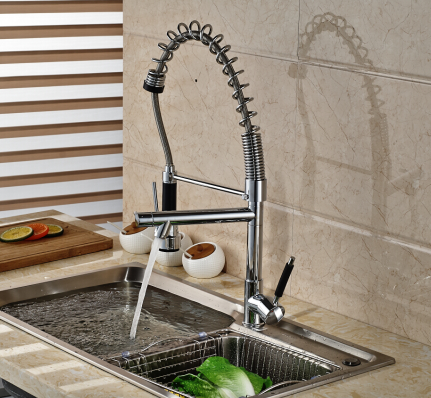 Modern Spring Tall Kitchen Faucet Dual Sprayer Spout Single Handle Deck Mounted Mixer Tap solid brass tall swivel dual spouts spring kitchen faucet spring mixer tap brush nickle deck mounted