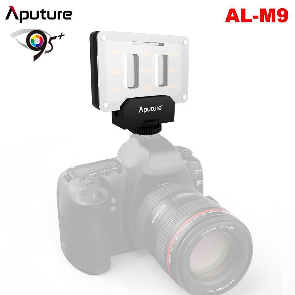 Aputure AL-M9 LED Video Light Pockable TLCI/CRI 95+ On-camera Fill Light 9pcs SMD Lights + Mini Table Tripod 1/4 Screw Thread mcoplus air 1000b led video light pockable cri 95 display bi color