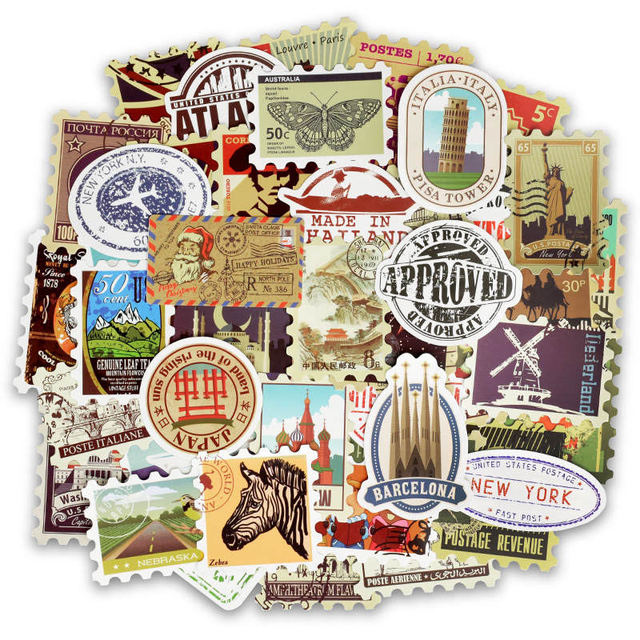 50 piezas Vintage varios países sellos de logotipo de la marca de pegatinas sello etiqueta mixto etiqueta decoración niños juguete pegatinas