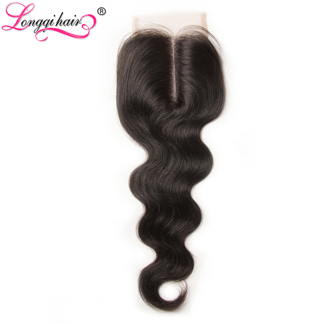 Longqi Hair Products Middle Part Brazilian Body Wave Lace Closure 10
