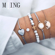 MLING 5 Pcs/Set Vintage Heart Crystal  Crab Tortoise Bracelet For Women Stone Beads Bangle Female Fashion Jewelry