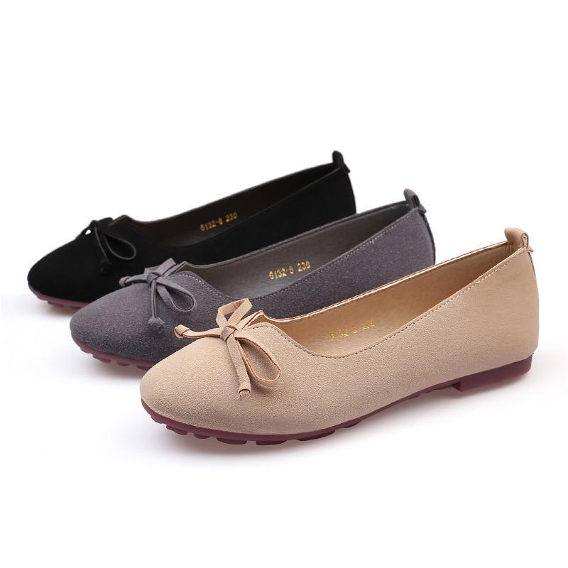 Chaussures 42 Plat Glissement Femmes Infirmières apricot Y613 Black gray Mocassins 41 De En Suédé Talon Creepers Bowtie Appartements Espadrilles Cuir Paresseux 43 Travail strQdh