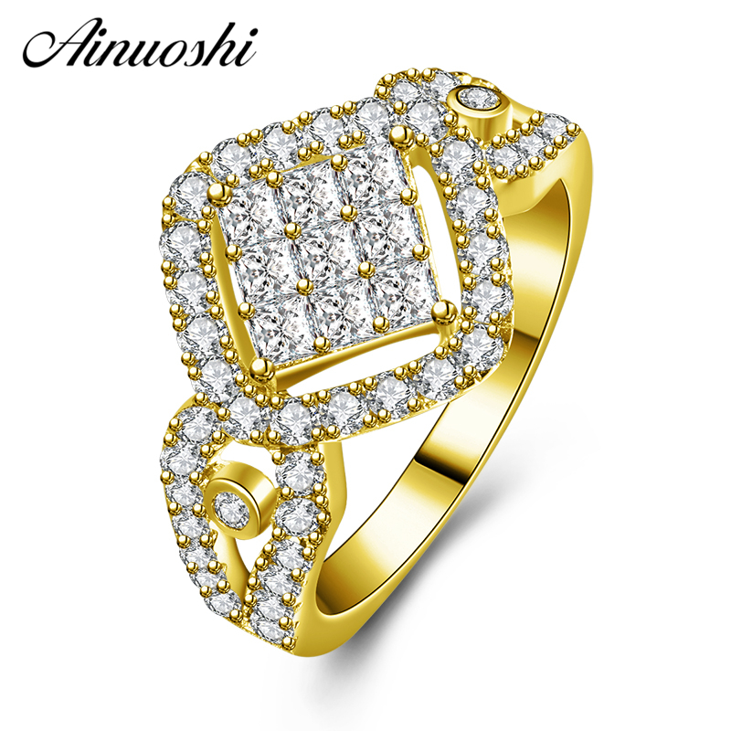 AINUOSHI 10K Solid Yellow Gold Diamond Halo Wedding Band 2 Rows Drill Cluster Band Bridal Ring Engagement Jewelry for Women MaleAINUOSHI 10K Solid Yellow Gold Diamond Halo Wedding Band 2 Rows Drill Cluster Band Bridal Ring Engagement Jewelry for Women Male