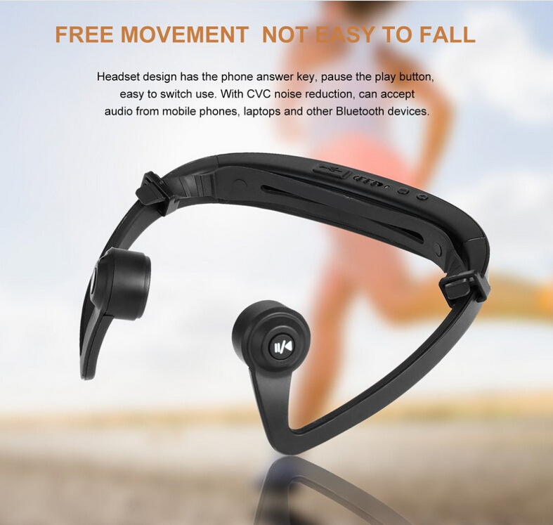 Winait Running sports bluetooth headset answer call,bone conduction earphone for cell phone wireless music MP3 player