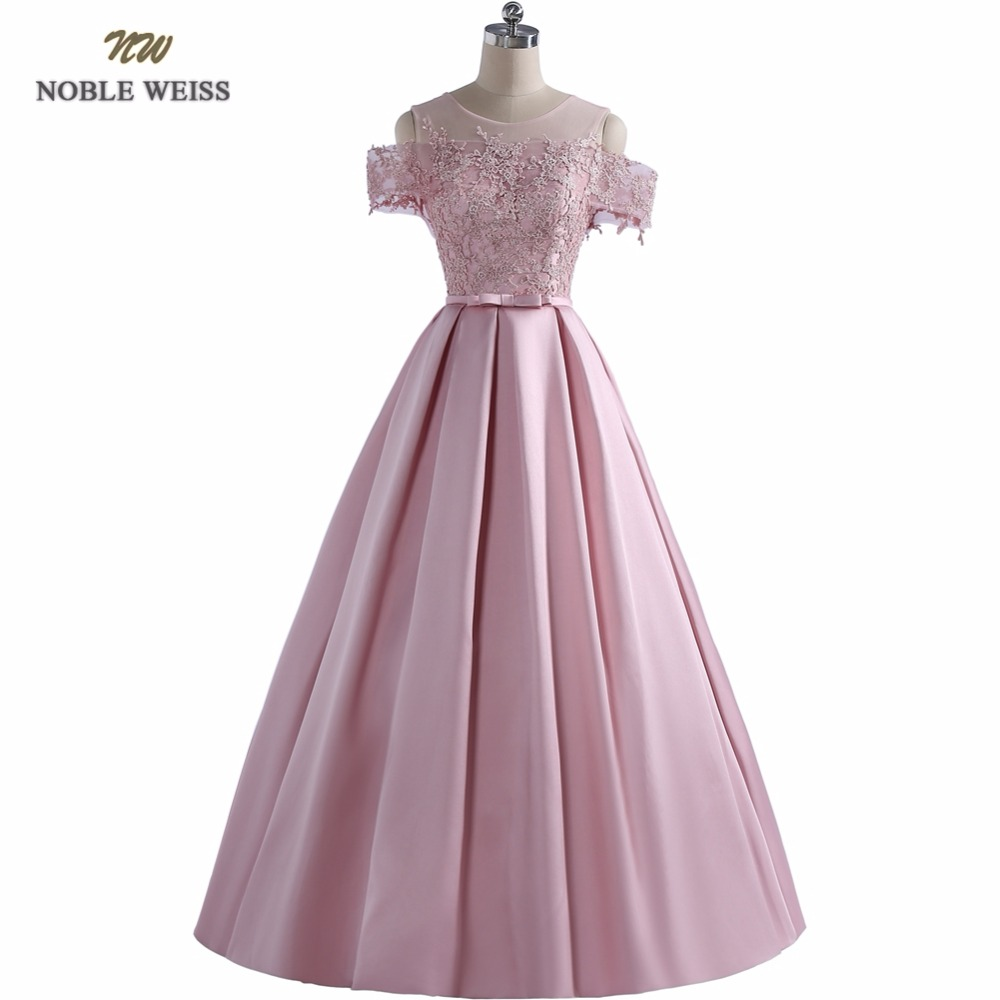NOBLE WEISS Ball Gown Evening   Prom     Dress   Off-the-Shoulder Appliques Evening   Dresses   Wedding Party Gown Lace-up Satin