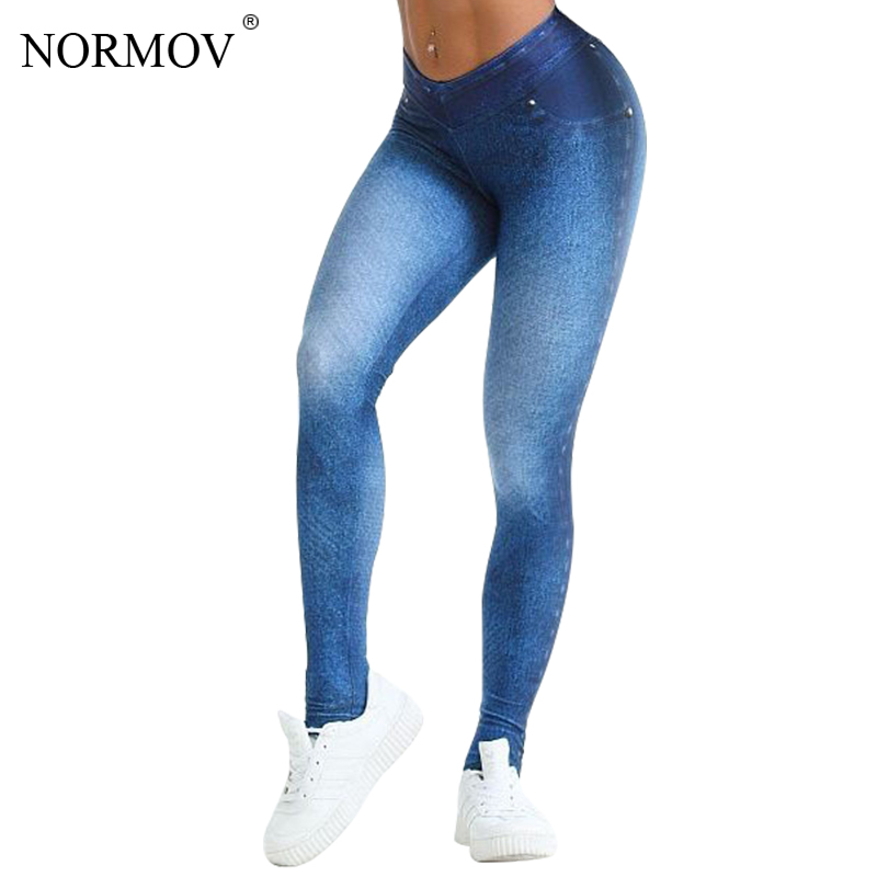 NORMOV Fitness Denim Leggings Women Clothing Workout Push Up Leggings High Waist Pants Female Skinny Trousers Summer 2 Color