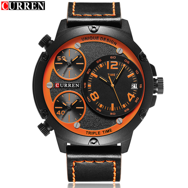 3cbf3f786dafb Curren Big Three Dial Watches Mens Top Luxury Famous Brand Watches Orange  Quartz Military Watch Men's Watch Relogio Masculino