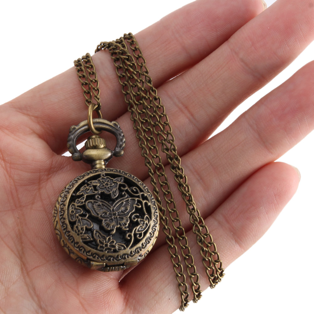 Vintage Pocket Watch Bronze Color Quartz Watch Cool Chain Hollow Butterfly Tree Watches LL@17