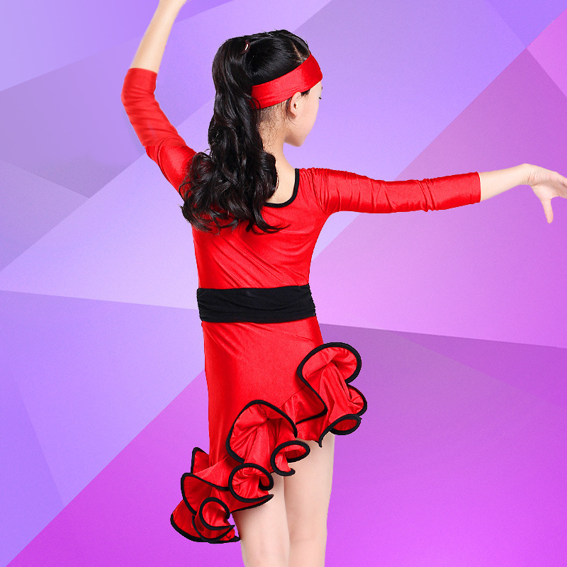 5 unids/lote envío gratis rojo negro niños chicas trajes de baile ...