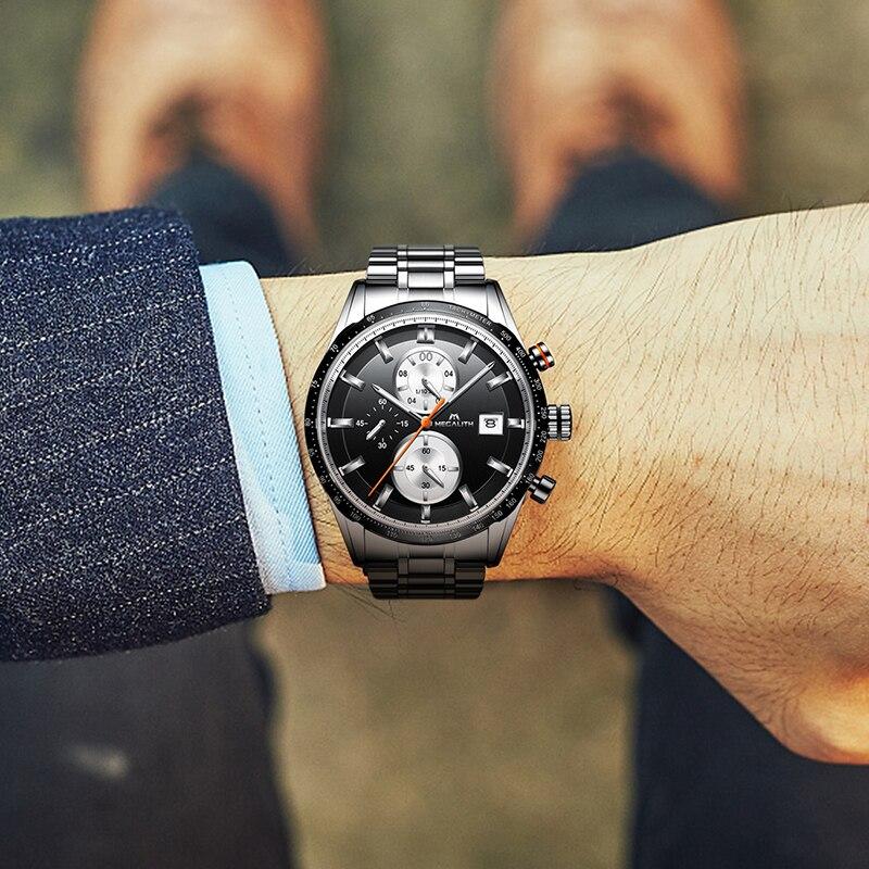 Image 4 - MEGALITH Fashion Chronograp Men's Watch Analog Quartz 24 Hour Date Watches Man Waterproof Men Sport Full Steel Wrist Watch Clock-in Quartz Watches from Watches