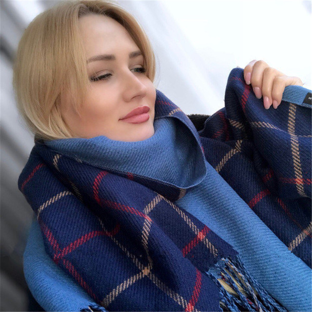 5b7cb1e39 [Lakysilk]Designer Plaid Scarf Women Cashmere Winter Shawls&Wraps Ladies  Girls Brand Fashion Large Blanket Scarves Top Quality