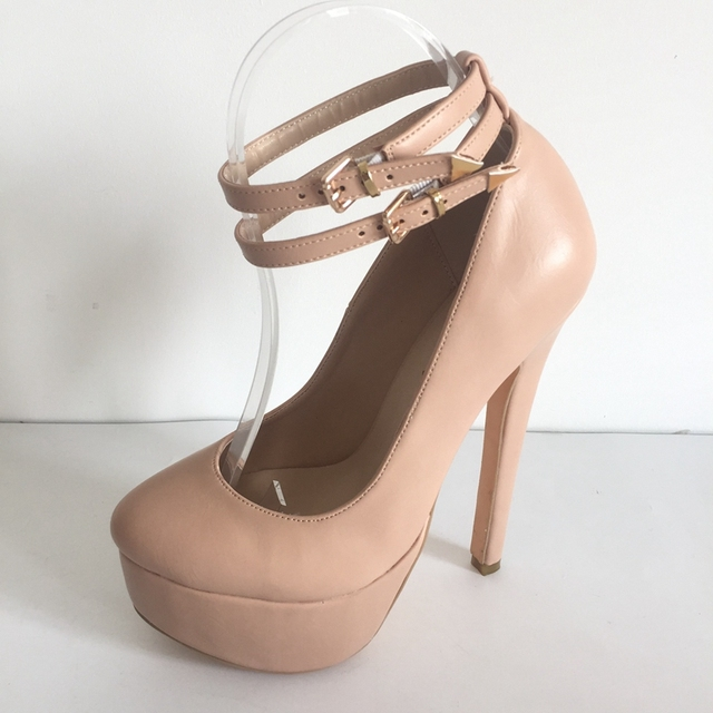 Nude Round Toe Ankle Straps Ladies Pumps Platform Sexy High Heels ...
