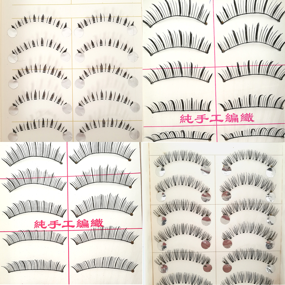 Eyemix 10 Pairs False eyelash Six Style Cotton Eyelash Extension Stalk Long Thick False Eyelashes Makeup Black Fake Eye Lashes