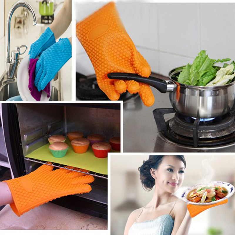 Memokey 1 piece food grade Heat Resistant Silicone Kitchen barbecue oven glove Cooking BBQ Grill Glove Oven Mitt Baking glove C in Oven Mitts Oven Sleeves from Home Garden