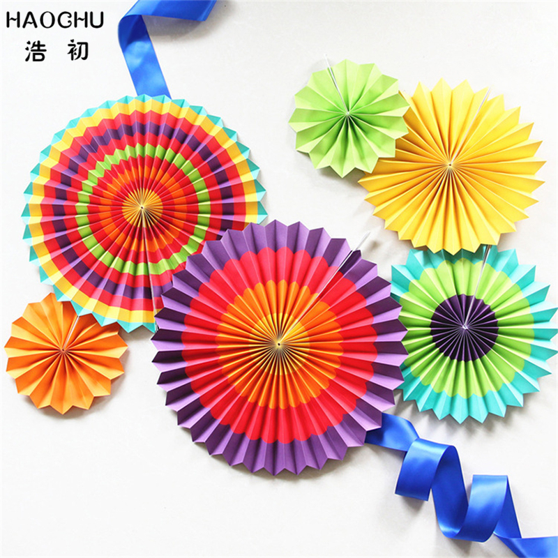 HAOCHU 6pcs Rainbow Colorful Striped Paper Fans For Wedding Party Decor Kids Birthday Shower Home Festival Hanging Paper Craft